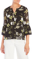 Fever Printed Crepe Flared Sleeve Blouse
