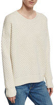 Vince Crewneck Honeycomb-Knit Sweater, Winter White