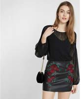 Express smocked shoulder sheer blouse