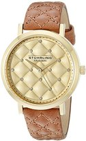 Stuhrling Original Women's 462.02 Audrey Quartz Quilted Swarovski Crystal Gold-Tone Dial Watch with Quilted Leather Band
