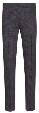 HUGO Extra-slim-fit trousers in checked stretch wool
