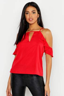 boohoo Ruffle Detail Cold Shoulder Top