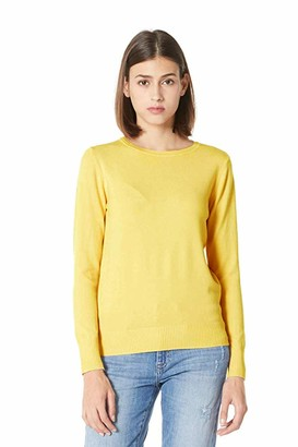 Plumberry Women's Casual Long Sleeve Striped Tops Lightweight Pullover Boxy Knit Crewneck Solid Color Sweater Yellow Large