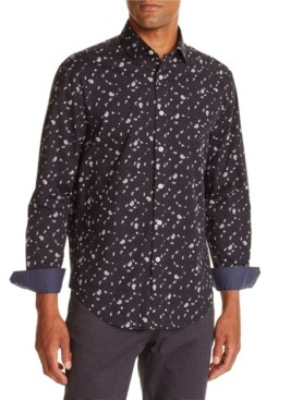 Tallia Men's Slim-Fit Stretch Black Mini Paisley Long Sleeve Shirt and a Free Face Mask With Purchase