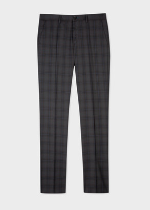 Paul Smith Men's Mid-Fit Grey Check Wool Trousers