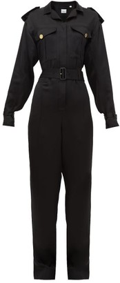 Burberry Catalina Mulberry-silk Jumpsuit - Womens - Black
