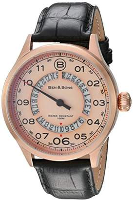 Ben & Sons Men's Analogue Quartz Watch with Leather Strap BS-10017-RG-016