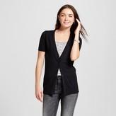 Merona Women's Short Sleeve Crewneck Jersey Cardigan Black L