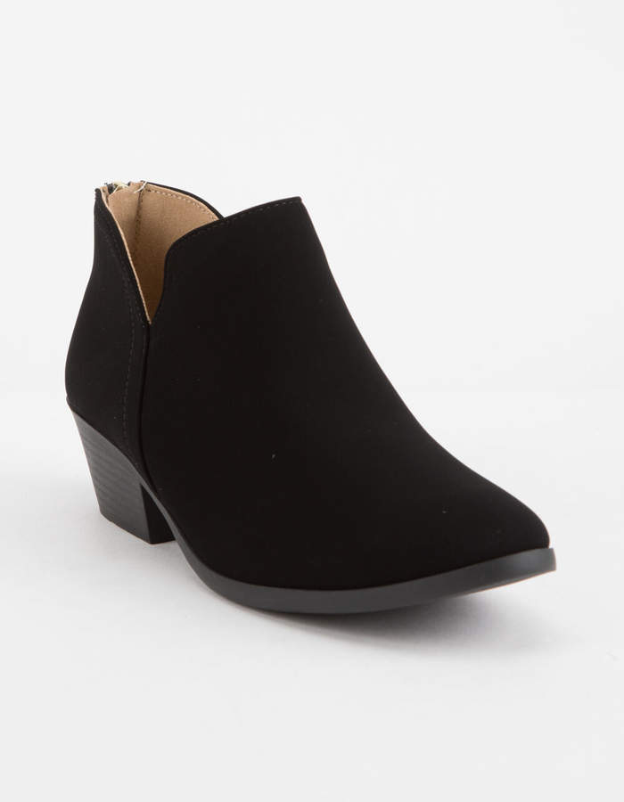 Soda Sunglasses Chop Out Low Black Womens Booties