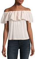 French Connection Polly Plains Off-the-Shoulder Blouse, Blush