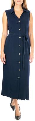 Nina Leonard Button Front Midi Shirt Dress