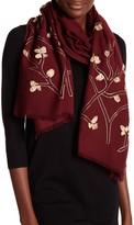 Saachi Embroidered Golden Branch Merino Wool Wrap