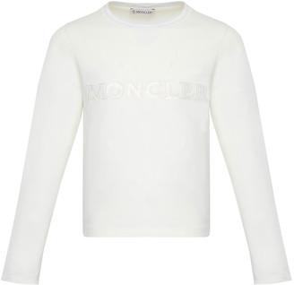 Moncler Girl's Long-Sleeve Block Logo T-Shirt, Size 4-6
