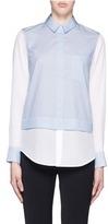 Vince Silk combo stripe cotton poplin shirt