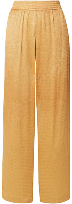 Sally LaPointe Crinkled-satin Wide-leg Pants