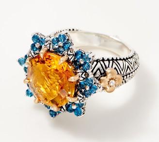 Barbara Bixby Sterling Silver &18KBold Floral Center Ring