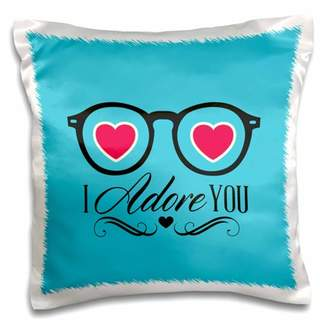 3drose 3dRose Eye Glasses With Hearts With I Adore You - Pillow Case, 16 by 16-inch