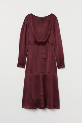 H&M Silk Boat-neck Dress - Red