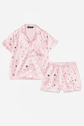 Nasty Gal Womens Sing Me a Lullaby Satin Shirt and Shorts Pajama Set - Pink