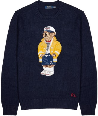 Polo Ralph Lauren Navy knitted cotton-blend jumper