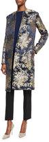 Ralph Lauren Silk Brocade Jacquard Coat, Petrol/Multi