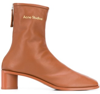 Acne Studios Branded Leather Ankle Boots
