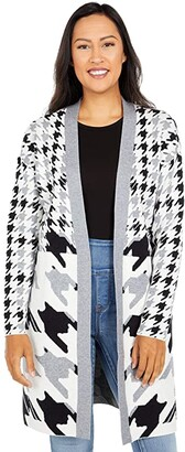 Tribal Long Sleeve Houndstooth Sweater Cardigan (Grey Mix) Women's Sweater