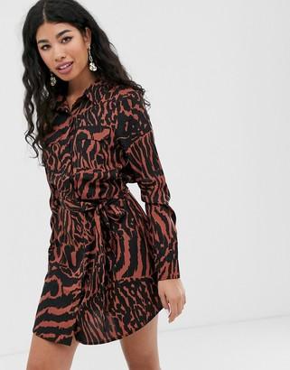 Brave Soul alexia shirt dress in tiger print-Brown