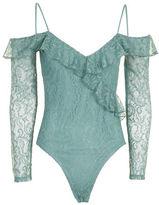 Topshop PETITE Lace Cold Shoulder Bodysuit