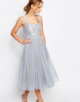 Little Mistress Tulle Midi Dress With Lace