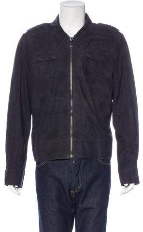 Les Hommes Suede Military Jacket