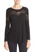 Rebecca Taylor Lace Inset Long Sleeve Tee
