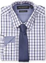 Nick Graham Men's Windowpane Dress Shirt With Tie Set