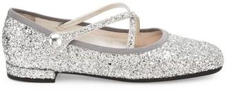 Miu Miu Crossover Strap Glitter Ballet Flats