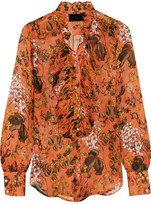 J.Crew Collection Ruffled Printed Silk-chiffon Blouse - Orange
