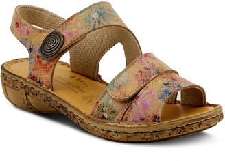 Spring Step Floral Printed Adjustable Leather Sandals - Tadell