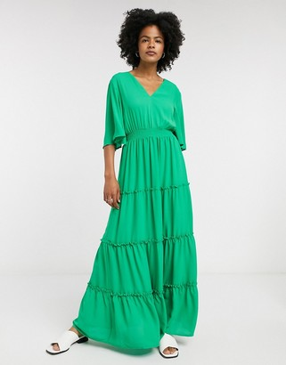 Selected tiered maxi dress in green