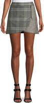 Alice + Olivia Lennon Colorblock Plaid Draped Mini Skirt