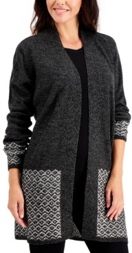 Karen Scott Turbo Pattern-Trim Cardigan, Created for Macy's