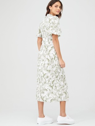 Very Angel Sleeve MidiShirt Dress - White Botanical