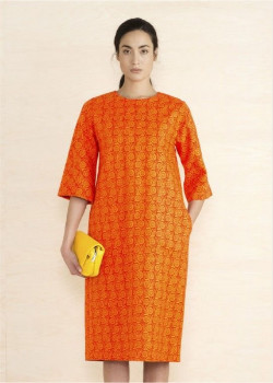 Marimekko Orange Pernilla Perena Flower Print Dress - 36 - Orange
