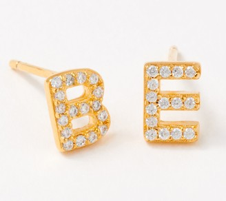 Diamonique Personalized Set of 2 Pave Letter Studs, 14K Gold Plated