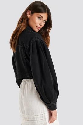 NA-KD Puff Sleeve Oversized Denim Jacket Black