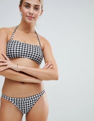 Playful Promises Le Palm Basic Skimpy Tanga Bikini Bottoms In Houndstooth