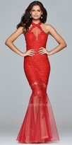 Faviana Sleeveless Sequin Lace Open Back Mermaid Prom Dress