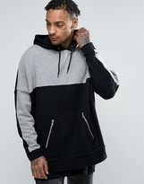 Asos Extreme Oversized Longline Hoodie With Cut & Sew & Zip Pockets