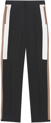 Burberry Stripe Detail Wool Tailored Trousers