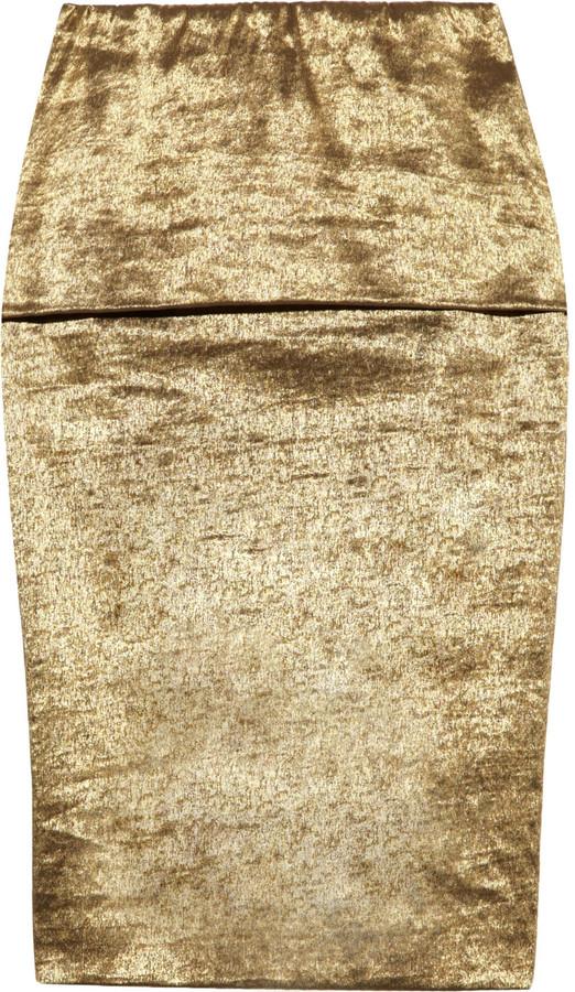 Donna Karan Metallic fold-over stretch pencil skirt