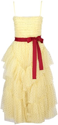 RED Valentino Yellow Glitter Polka Dot Tulle Dress