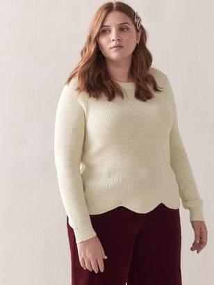 Scallop-Hem Cropped Lurex Sweater - Addition Elle